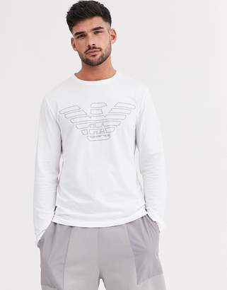 Emporio Armani slim fit large eagle logo long sleeve lounge t-shirt in white