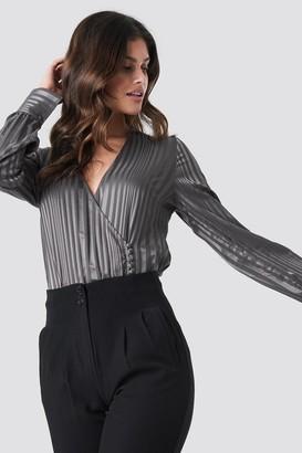 NA-KD Side Button Up Blouse Grey
