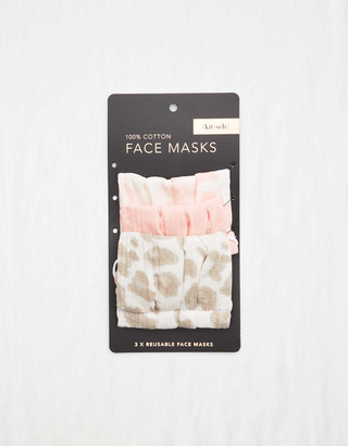 aerie Kitsch Cotton Face Mask 3-Pack - Blush