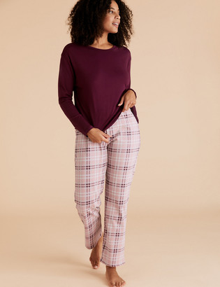 Marks and Spencer Cotton Checked Print Pyjama Set
