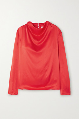Leone TOVE Draped Crinkled Silk-satin Top - Red
