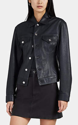Helmut Lang Women's Leather Trucker Jacket - Gray
