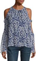 Ramy Brook Norma Cold-Shoulder Brushstroke-Print Silk Top, Ivory/Navy