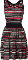 Sandro Black, Beige and Neon Striped Knit Dress