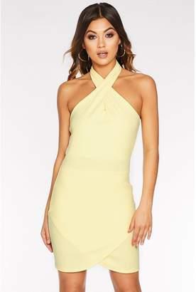 Quiz Lemon Halterneck Bodycon Dress
