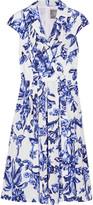 Lela Rose Jane Floral-print Cotton-poplin Dress - Blue