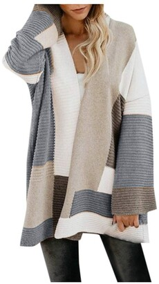 BUKINIE Womens Oversized Chunky Open Front Cardigan Sweaters Boho Color Block Loose Cable Knit Lightweight Outwear Coat(Grey Small)