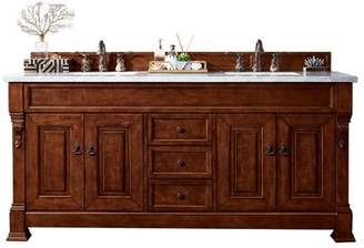"""James Martin Furniture Brookfield 72"""" Double Warm Cherry Bathroom Vanity Set with Drawers Furniture"""