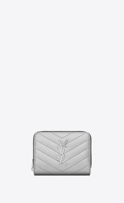 Saint Laurent Monogram Slg Compact Zippered Monogram Wallet In Grain De Poudre Embossed Leather Platinum Onesize