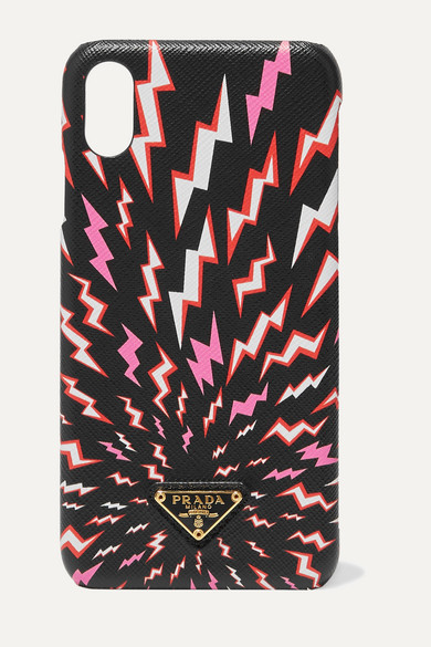 Prada Printed Textured-leather Iphone Xs Max Case - Black
