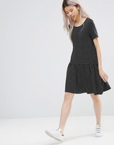 French Connection Drop Waist Jersey Dress in Polka Dot Print