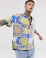 Asos Design ASOS DESIGN short sleeve baroque print shirt in neon