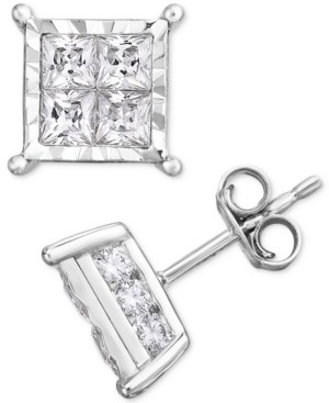 TruMiracle TrueMiracle Diamond Princess Cluster Stud Earrings (2 ct. t.w.) in 14K White Gold