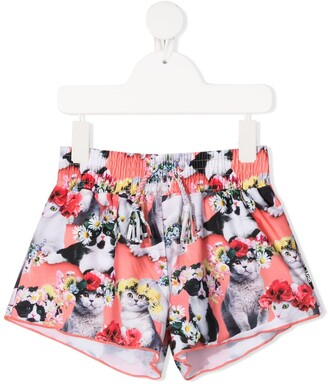 Molo Flower Power Cat-Print Swim Shorts
