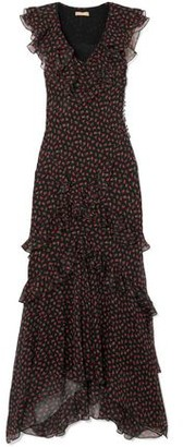Michael Kors Ruffled Floral-print Silk-georgette Maxi Dress