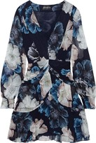 Nicholas Draped Floral-print Silk-chiffon Mini Dress