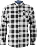 Brave Soul Men's Jack Long Sleeve Check Shirt - White