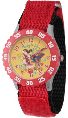 Disney Elena of Avalor and Skylar Girls' Stainless Steel Time Teacher Watch, Red Bezel, Red Hook and Loop Nylon Strap with Black Backing