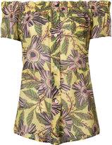 RED Valentino floral print short sleeved shirt - women - Silk/Cotton - 38