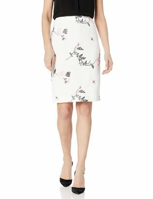 Kasper Women's Emboridered Floral Scuba Crepe Slim Skirt
