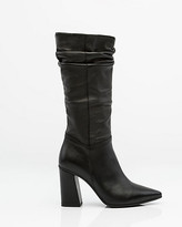 Le Château Italian-Made Ruched Leather Boot