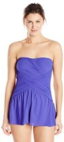 Gottex Women's Lattice Solid Dressed Bandeau Swim Dress