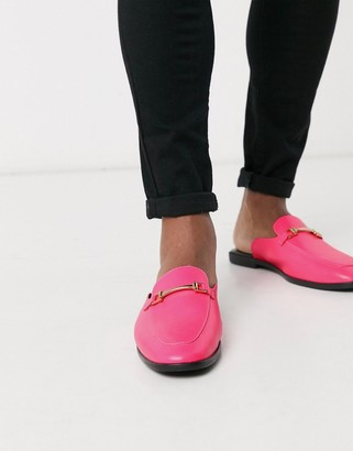 ASOS DESIGN backless mule loafer in pink faux leather