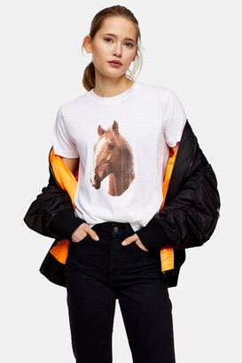 Topshop Womens Horse Print T-Shirt In White - White