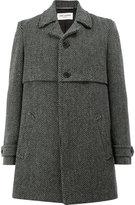 Saint Laurent herringbone coat - men - Cotton/Polyamide/Cupro/Virgin Wool - 48