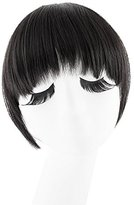 MapofBeauty Fashion False Bang Neat Fringe Hairpiece Clip in Hair Extensions Accessories (Black)