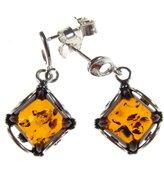 Cozmos Earrings BALTIC AMBER AND STERLING SILVER 925 DESIGNER COGNAC EARRINGS JEWELLERY JEWELRY