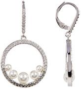Judith Jack Crystal & Marcasite Detail Open Circle Imitation Pearl Embellished Drop Earrings