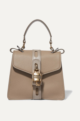 Chloé Aby Small Textured And Smooth Leather Tote - Gray