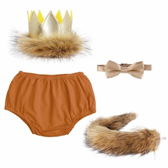 Ibtom Castle Baby Boys 1st/2nd Birthday Cake Smash Things King of The Jungle Outfit Set Adjustable Suspenders Ties Bloomers for Halloween Birthday Photography Wedding Fishing Party Brown(4PCS)