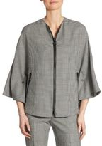 Akris Punto Zip-Front Houndstooth Wool Cape