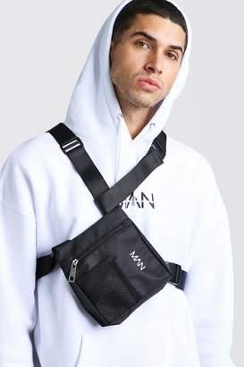 boohoo MAN Print Mesh Pocket Chest Bag