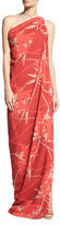 Halston Draped One-Shoulder Gown, Red Pattern