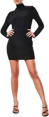 Missguided High-Neck Drape Mini Bodycon Dress