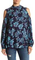Angie Mock Neck Floral Blouse