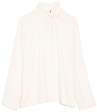 Dice Kayek Ruffled Neck Silk Top in Off White