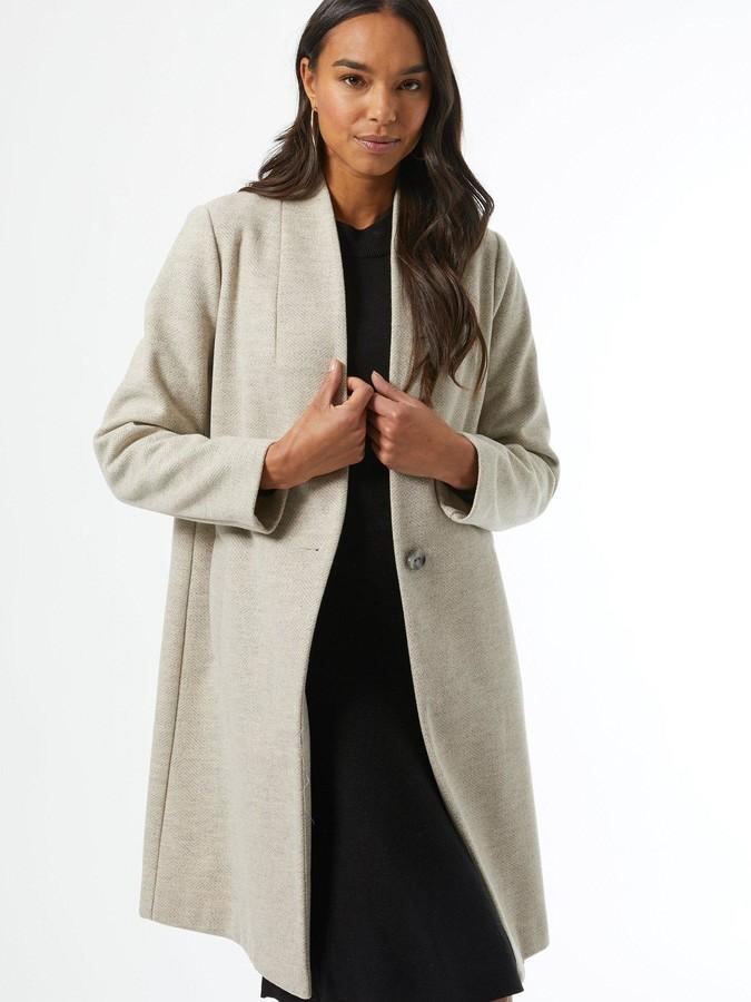 Dorothy Perkins Collarless Herringbone Coat - Grey