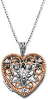 "Giani Bernini Cubic Zirconia Openwork Filigree Heart Locket 18"" Pendant Necklace, Created for Macy's"
