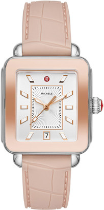 Michele Deco Sport Silicone Embossed Watch in Desert Rose