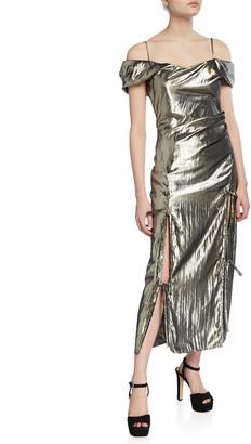 REJINA PYO Adeline Metallic Off-Shoulder Cocktail Dress