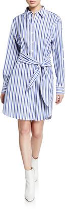 Derek Lam 10 Crosby Striped Long-Sleeve Tie-Waist Shirtdress
