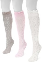 Muk Luks Pointelle Knee High Socks - Pack of 3