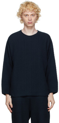 Homme Plissé Issey Miyake Navy Knit Rustic Sweater