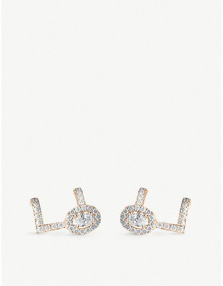 Messika Glam'Azone 18ct pink-gold and pave diamond earrings