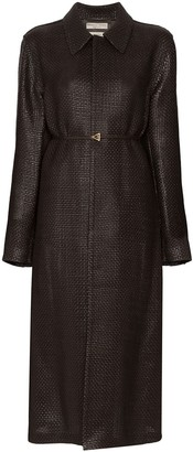 Bottega Veneta Belted Intrecciato Leather Coat
