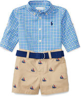 Ralph Lauren Boy Shirt, Short & Belt Set